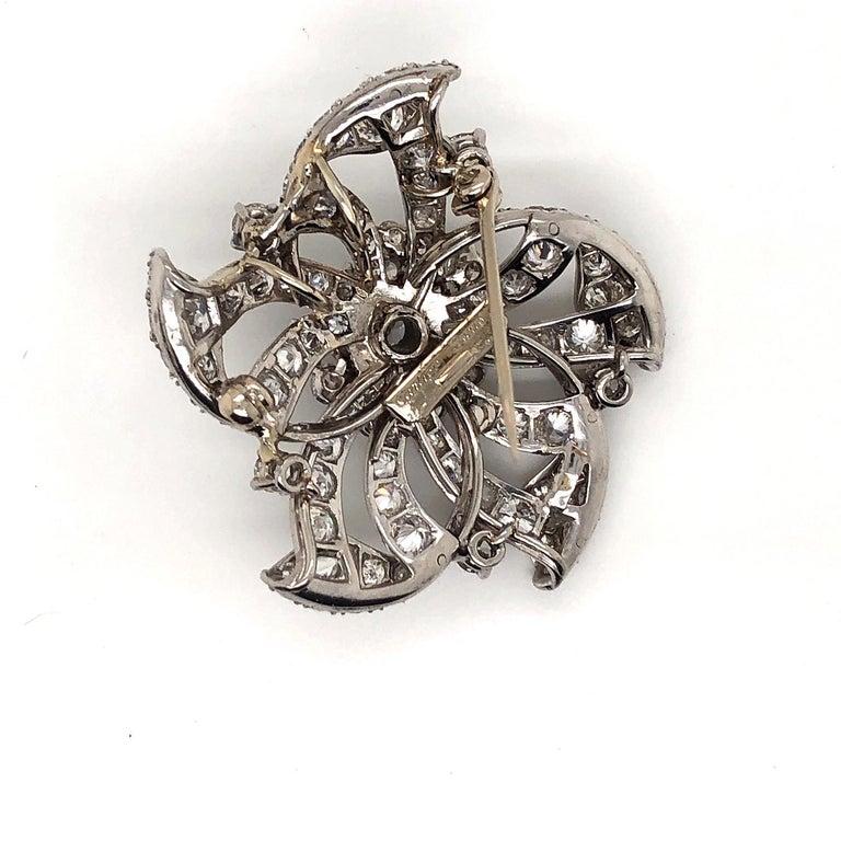 Old European Cut Cartier Vintage Platinum Diamond Flower Brooch Pendant For Sale