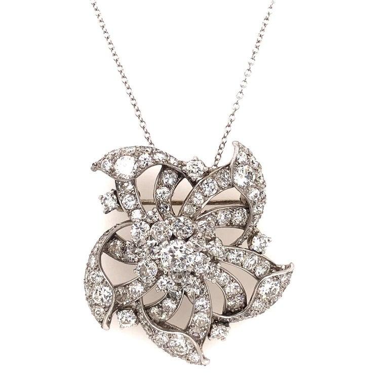Cartier Vintage Platinum Diamond Flower Brooch Pendant For Sale 1