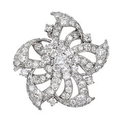 Vintage Platinum Diamond Flower Brooch Pendant