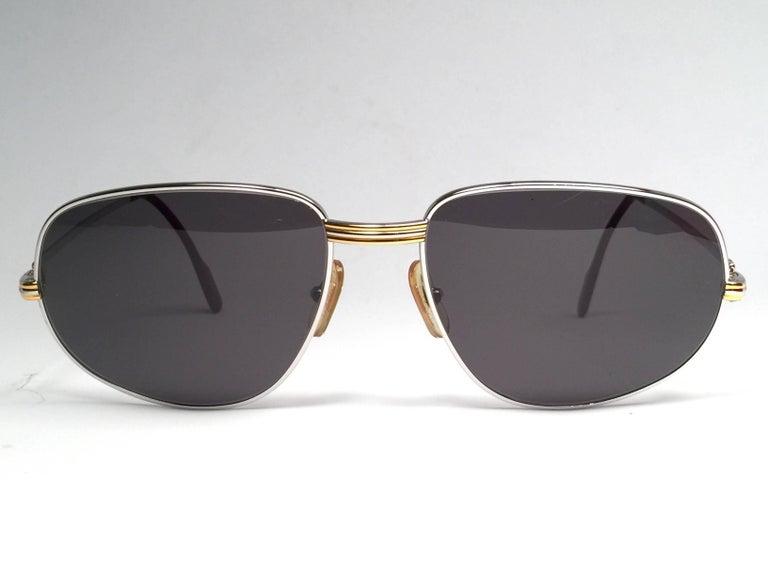 Gold Cartier Vintage Romance Vendome 61mm Platinum France Sunglasses For Sale