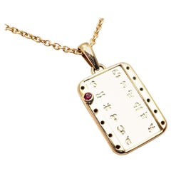 Cartier Vintage Ruby Zodiac Yellow and White Gold Pendant Necklace