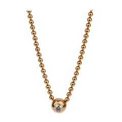 Cartier Vintage Solitaire Diamond Gold Pendant Necklace