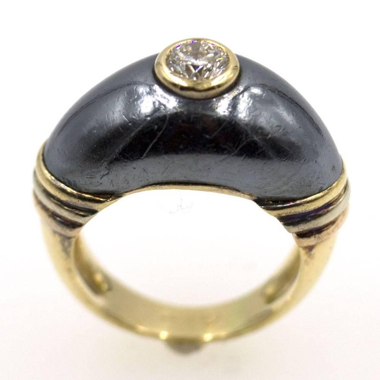 7159003af6be6 Cartier Vintage Solitaire Diamond Hematite 18 Karat Yellow Gold Ring