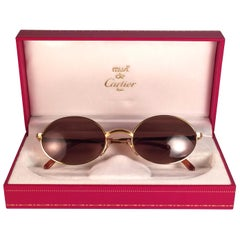 Cartier Vintage Sorbonne Gold Plated Solid Brown Lens France Sunglasses, 1990