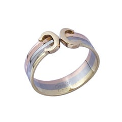 "Cartier Vintage Tri Color ""C"" De Cartier Ring"
