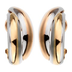 Cartier Vintage Trinity Rose Yellow Gold Stainless Steel Earrings