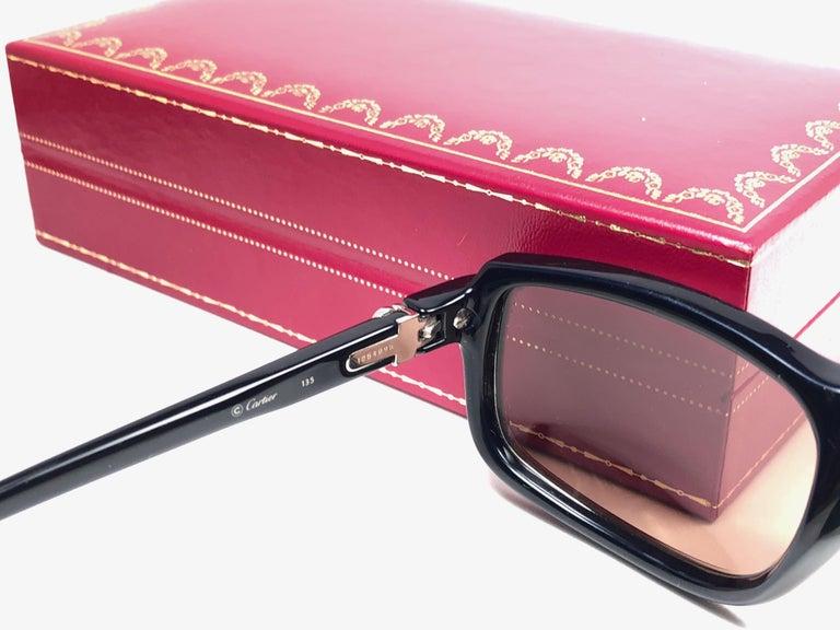 Cartier Vintage Vertigo Deep Blue and Platinum 54MM Sunglasses, France 1991 For Sale 3