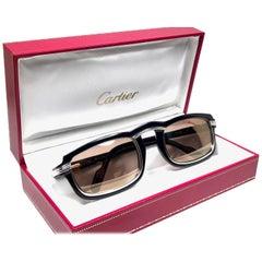 Cartier Vintage Vertigo Deep Blue and Platinum 54MM Sunglasses, France 1991