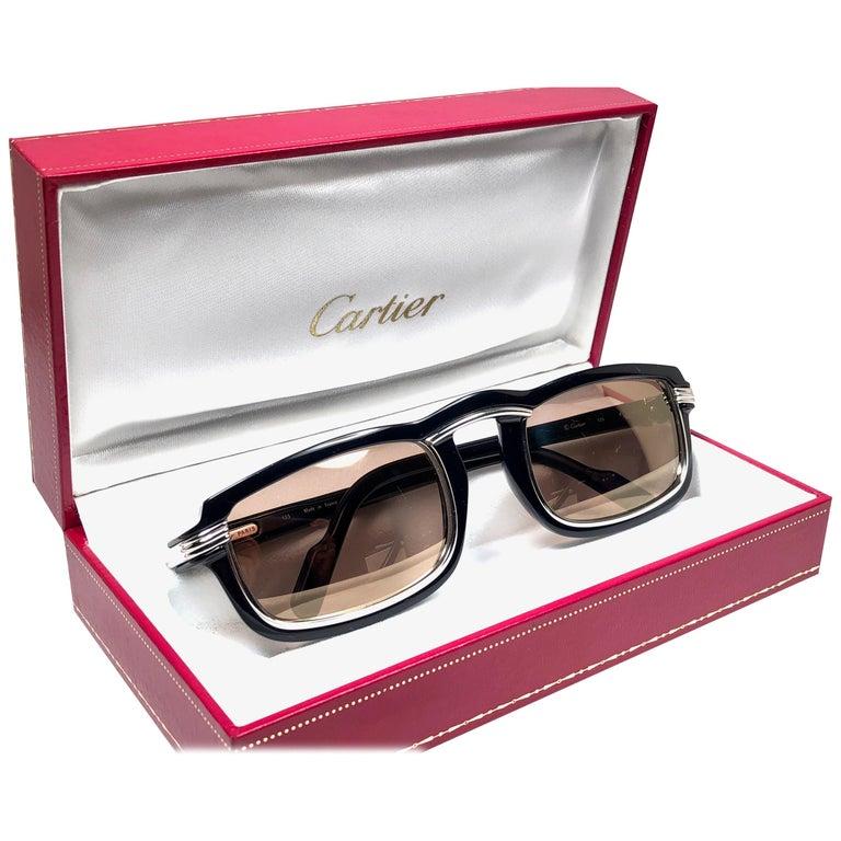 Cartier Vintage Vertigo Deep Blue and Platinum 54MM Sunglasses, France 1991 For Sale