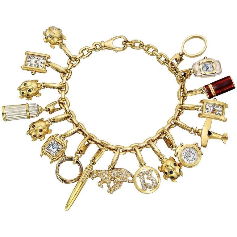 5292f9f61e51e Cartier Vintage Yellow Gold Charm Bracelet