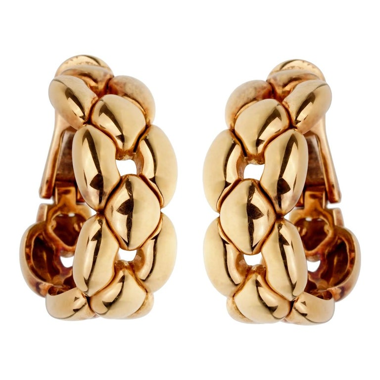 Cartier Vintage Yellow Gold Hoop Drop Earrings For Sale