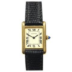 Cartier Vintage Yellow Gold Ladies Mechanical Classic Tank Wristwatch