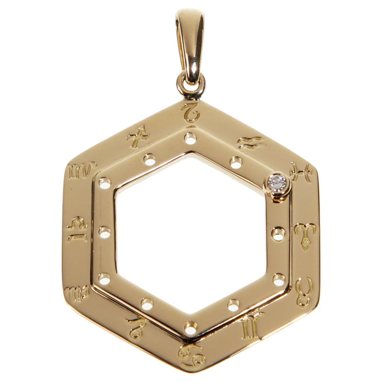 Cartier Vintage Zodiac Diamond Yellow Gold Pendant Necklace