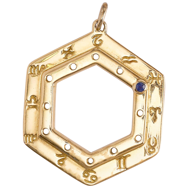Cartier Vintage Zodiac Sapphire Yellow Gold Pendant Necklace