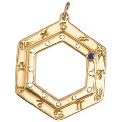 Cartier Vintage Zodiac Sapphire Yellow Gold Pendant Necklace