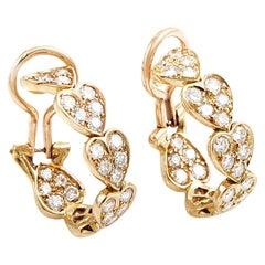 Cartier Virgo 1.44 carat Diamond 18 Karat Rose Gold Heart Earrings
