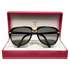 Cartier Vitesse Black Gold Oversized 60 mm Gold Plated Sunglasses France