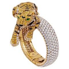 Cartier Vivid Yellow, White Diamond Panther Watch