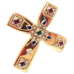 Cartier Vizantija Emerald Sapphire Ruby Diamond Large Gold Cross Brooch Pendant