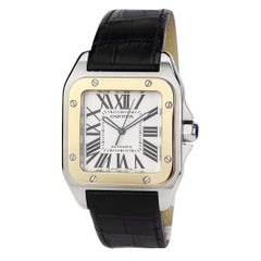 Cartier W20072X7 Santos 100 Gold & Steel XL Year 2010 Automatic Movement