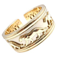 Cartier Walking Panther Yellow and White Gold Cuff Bangle Bracelet