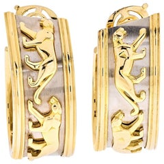 Cartier Walking Panthere Hoop Earrings
