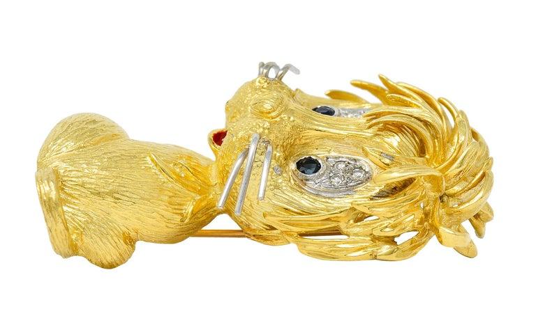 Cartier Whimsical 1960's Vintage Diamond Sapphire 18 Karat Gold Lion Brooch For Sale 4