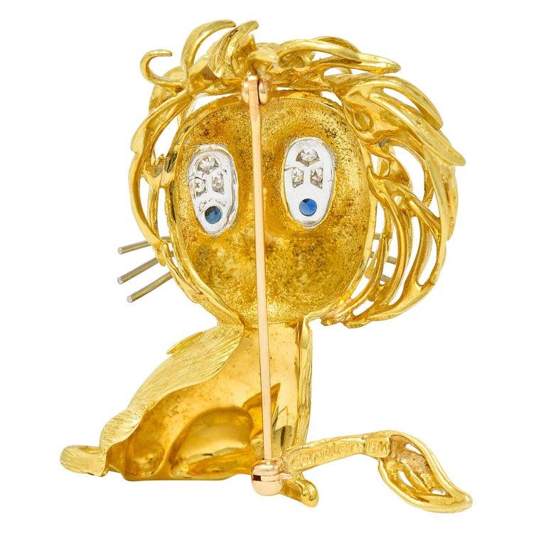 Contemporary Cartier Whimsical 1960's Vintage Diamond Sapphire 18 Karat Gold Lion Brooch For Sale