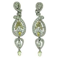 Cartier White and Yellow Diamond Dangle Platinum Earrings with Papers, 10 Carat