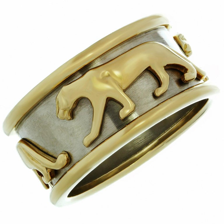 Cartier White and Yellow Gold Panther Band Ring at 1stdibs 65da25162d