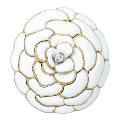 Cartier White Enamel and Diamond Floral Layer Brooch