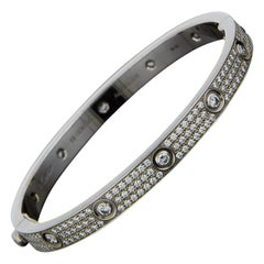 Cartier White Gold 3.15 Carat Round Diamond Bangle Bracelets