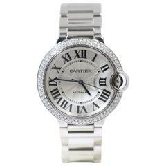 Cartier White Gold Ballon Bleu De Steel Diamonds Watch