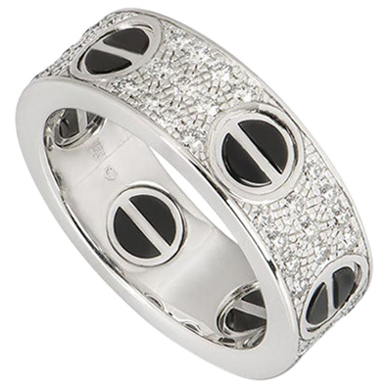 Cartier White Gold Diamond and Ceramic Love Ring B4207600
