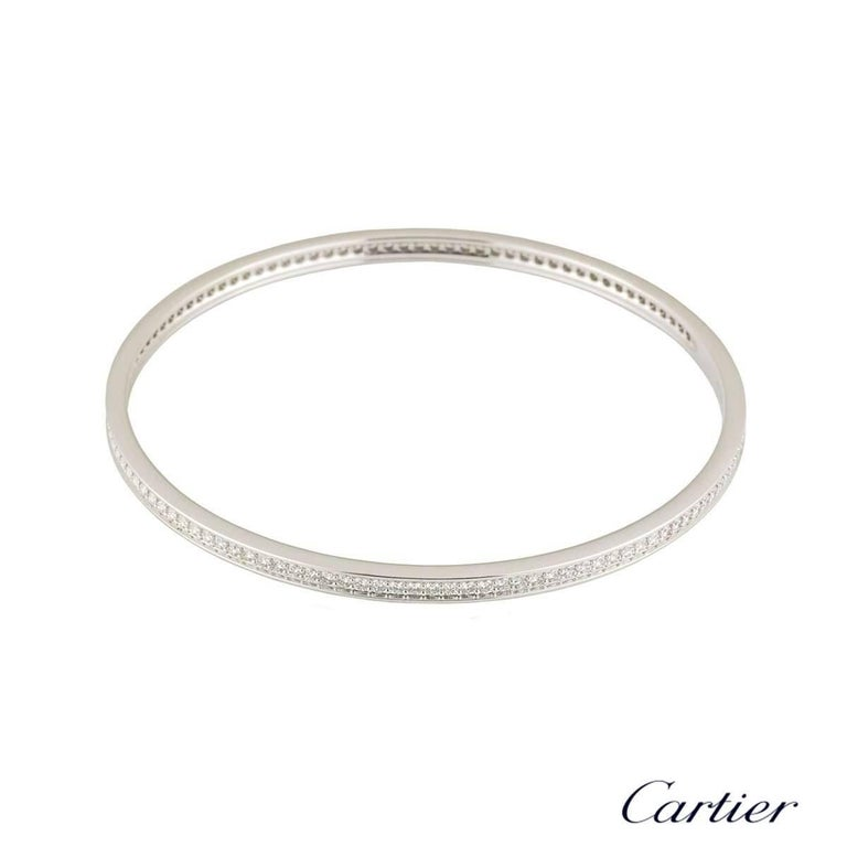Round Cut Cartier White Gold Diamond Bangle 2.90 Carat F/VS For Sale