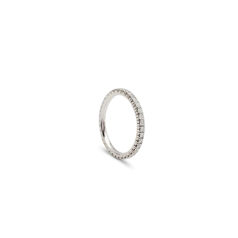 Round Cut Cartier White Gold Diamond Eternity Band For Sale