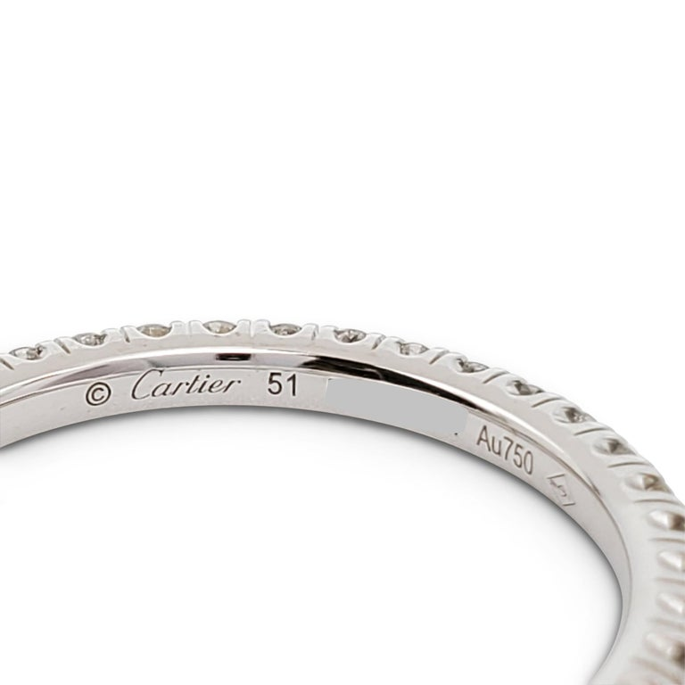Cartier White Gold Diamond Eternity Band In Excellent Condition For Sale In New York, NY