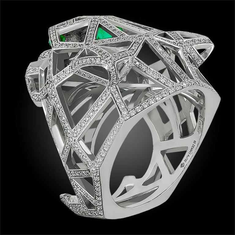 Cartier White Gold Diamond Panther De Cartier Ring In Good Condition For Sale In New York, NY