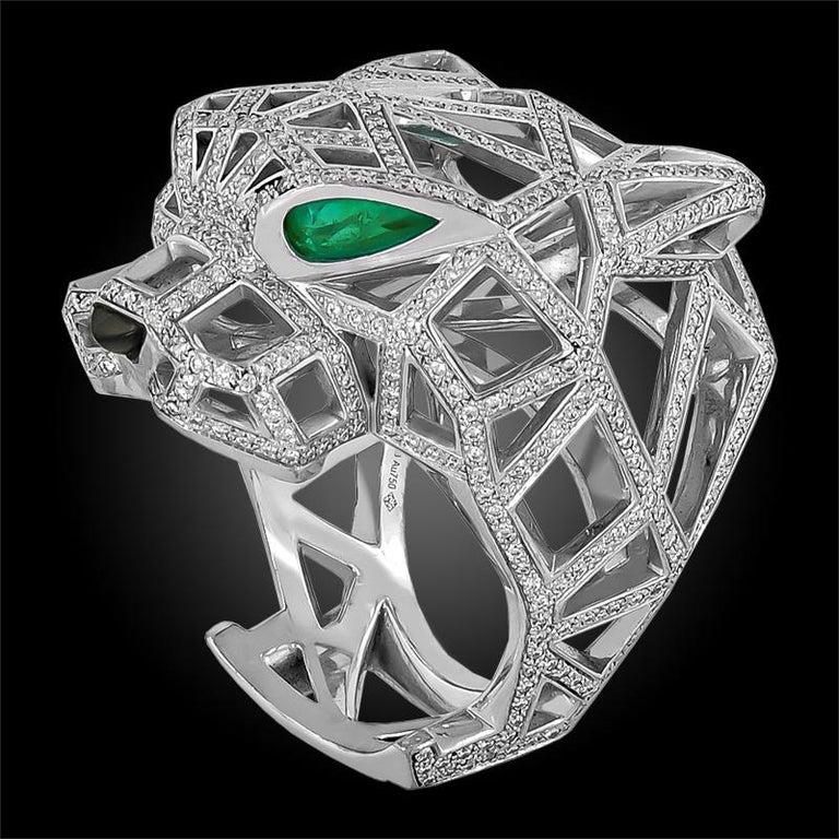 Women's or Men's Cartier White Gold Diamond Panther De Cartier Ring For Sale