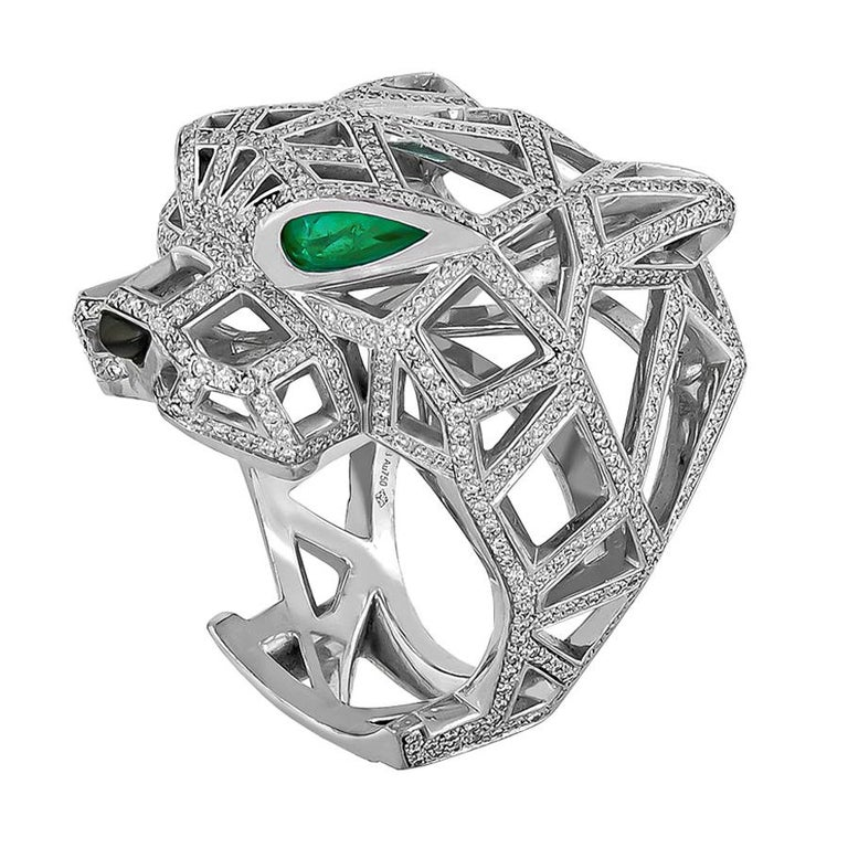 Cartier White Gold Diamond Panther De Cartier Ring For Sale