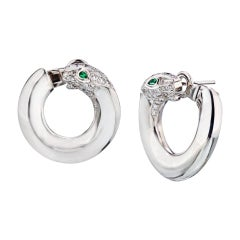 Cartier White Gold Diamond Panther Hoops with Emerald Eyes 18kw Earrings