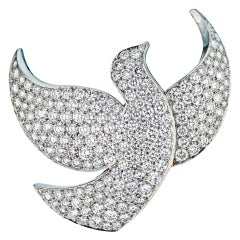 Cartier White Gold Diamond Pave Dove Pin Brooch