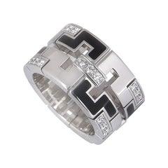 Cartier White Gold Diamond Set Enamel Le Baiser Du Dragon Ring