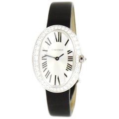 Cartier White Gold & Diamond Small Baignoire 24.5mm Watch w. Toile Brossée Strap
