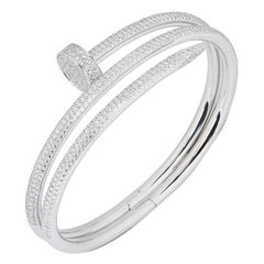 Cartier White Gold Full Pave Diamond Juste Un Clou Bracelet