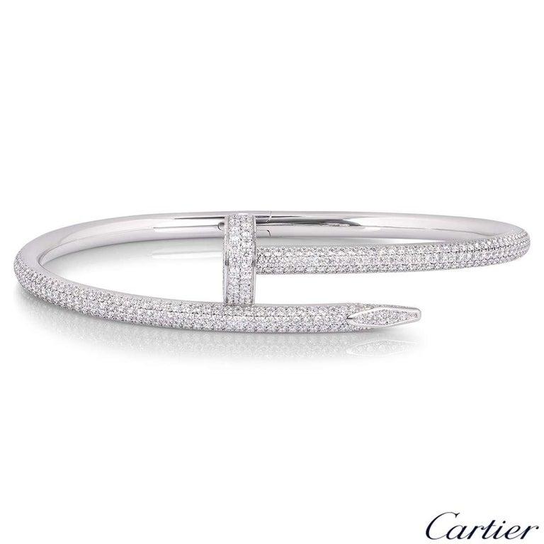 Round Cut Cartier White Gold Full Pave Diamond Juste Un Clou Bracelet N6707317 For Sale