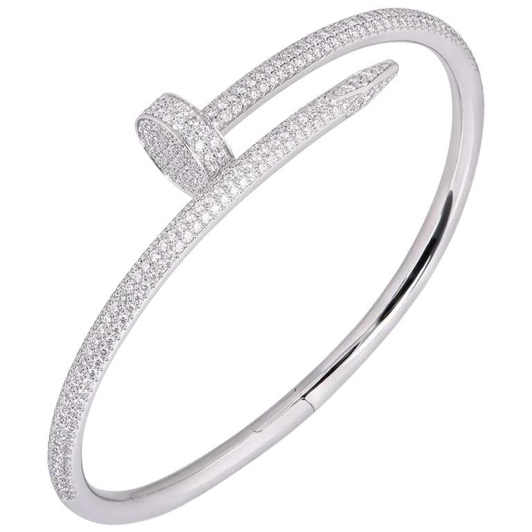 Cartier White Gold Full Pave Diamond Juste Un Clou Bracelet N6707317 For Sale
