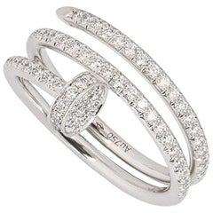 Cartier White Gold Full Pave Diamond Juste Un Clou Ring B4211100
