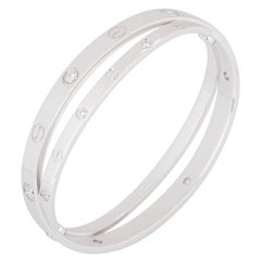 Cartier White Gold Half Diamond Double Love Bangle Bracelet