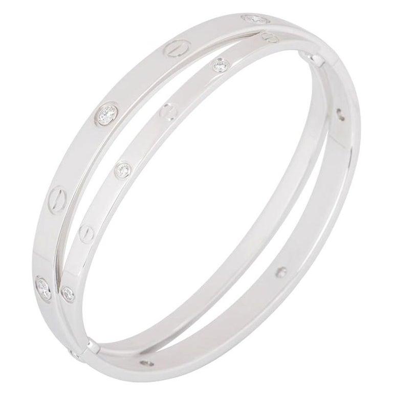 5a14b35ce Cartier White Gold Half Diamond Double Love Bangle Bracelet For Sale ...